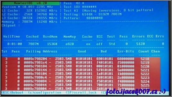 takto vypadá vadná pamět RAM diagnostikována pomocí programu memtest