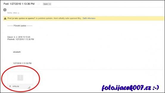 email s zákeřnou přílohou obsahující Ransomware