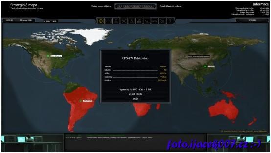 detekce nalezeného ufo na strategickém plánu světa