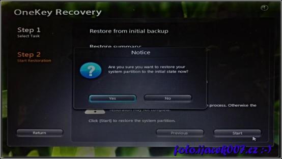 dotaz zda opravdu chcete obnovit počítač do továrního nastavení