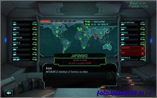 informace o satelitech o členských zemích i o financích