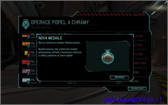 po úspěšném zvládnutí některých misí máte možnost dostat a poté přidělit svým vojákům speciální medaile.