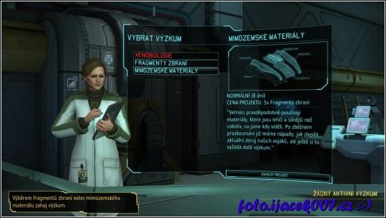 důležitou součástí hry je výzkum zabavených artefaktu i technologii