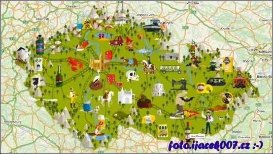 mapa české republiky plná místních dominant