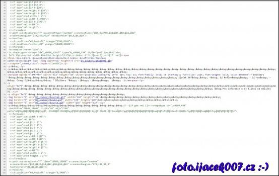 pohled do zdrojového kódu stránky generované programem FrontPage