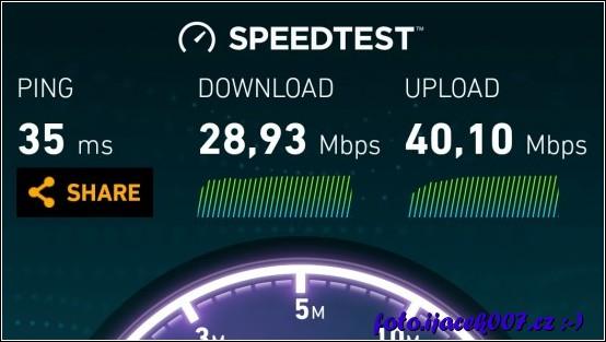 výsledek testu internetu testovaného  mobilní aplikací speedtest.net