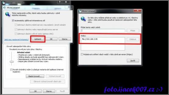 přidání cesty do intranetu pro nastavení ve Windows