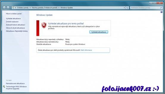 pohled na vyhledání aktualizací po instalaci Windows 7