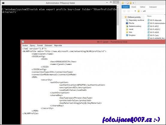 pohled do exportovaného profilu k wifi síti s čitelným heslem