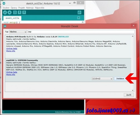volba pro instalaci modul desky esp8266