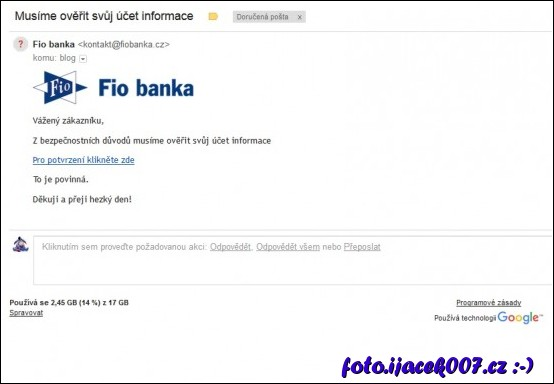 email z fio banky