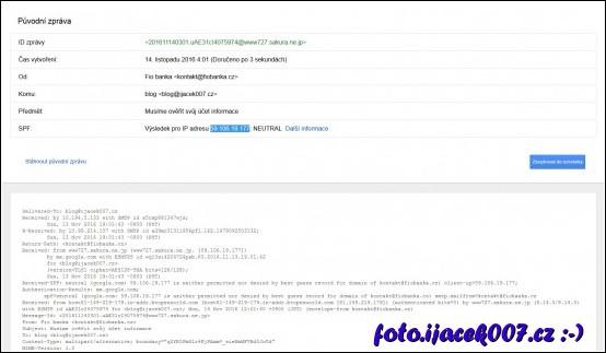 pohled na zdrojový kod emailu