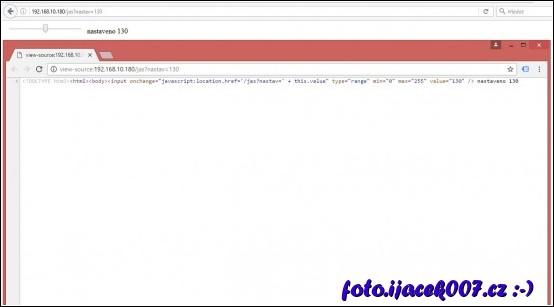 stránka regulace jasu a zobrazení zdrojového kodu