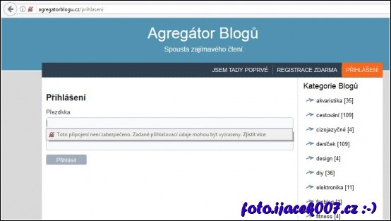 nepříjemné upozornění na nezabezpečené přihlášení na portále agregatorblogu.cz