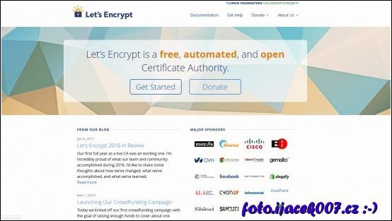hlavní stránka portálu letsencrypt.org