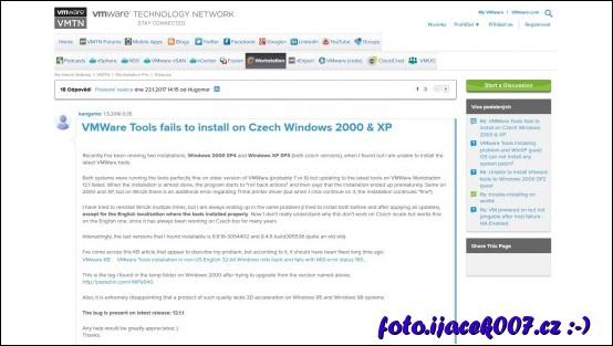 popis problému na foru VMware