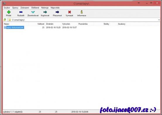pohled na rozhraní programu 7zip