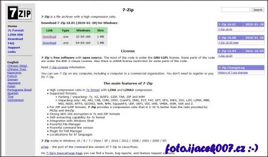 Obrázek stránky softwaru 7zip a možností jeho stažení.