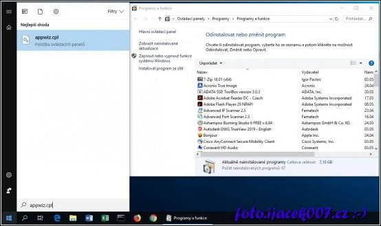 Spuštění přidat nebo odebrat programy pomocí příkazu appwiz.cpl ve Windows 10