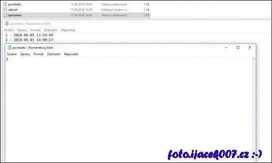 pohled na 2 doprovodné soubory ve kterých se ukládají časy restartu a počítadlo.