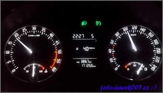 průměrná spotřeba za 380 km.
