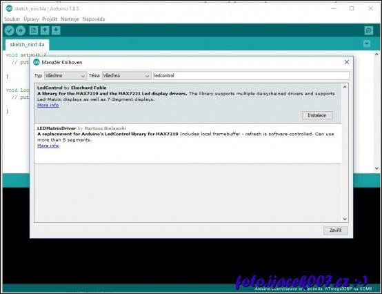 instalace knihovny LedControl přes manažera knuhoven
