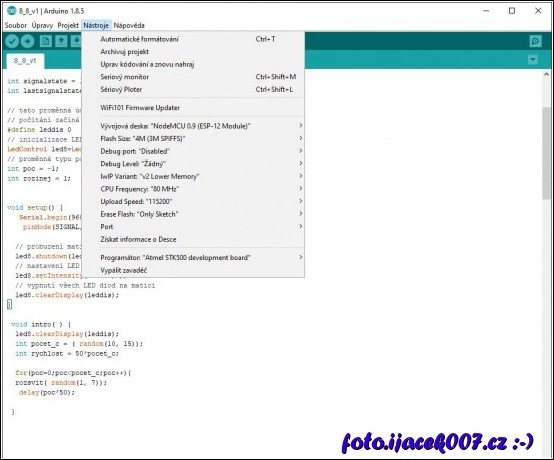 Obraz nastavení programovacího Arduino rozhraní.