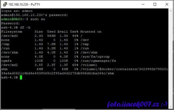 ověření zaplnění disku jako root
