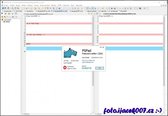 pohled na editor okno porovnání soubotu s logem