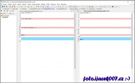 Okno s porovnáním obsahu dvou dokumentů