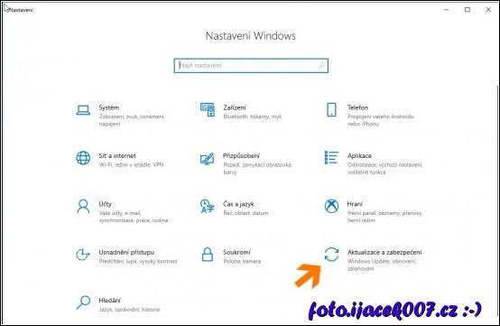 obrázek Windows 10 nastavení Aktualizace a zabezpečení