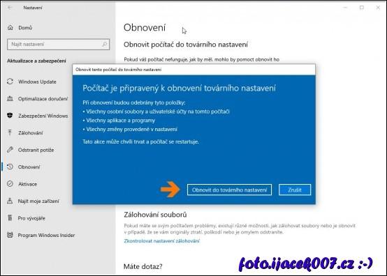 obrázek Windows 10 nastavení obnovit počítač do továrního nastavení