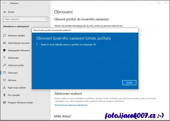 obrázek Windows 10 tovární nastavení