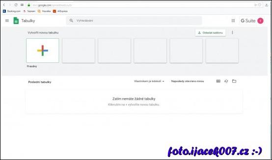 vytvoření nové tabulky v google dokumentech
