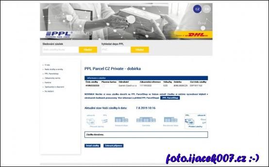 Informace o přepravě pomocé PPL a dobírky