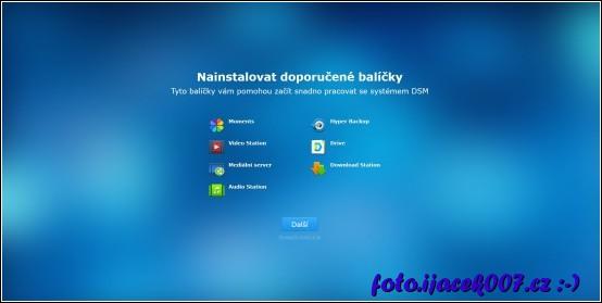 Na konci instalace Synology je možné rovnou nechat instalovat balíčky.