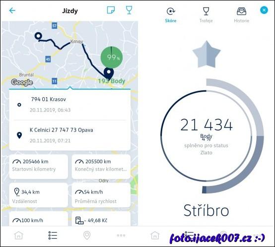 Pohled na obrazovky se záznamem trasy a celkovým počtem bodů.