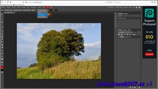 Nastavení nástroje ořez a volba poměru stran v editoru Photopea
