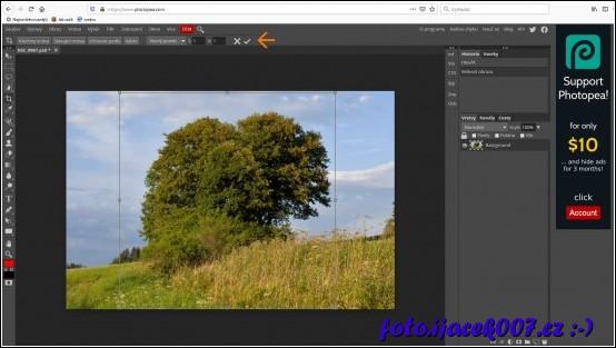 zvíraznění a použití nástroje pro ořz obrázku s pevně danným poměrem stran.