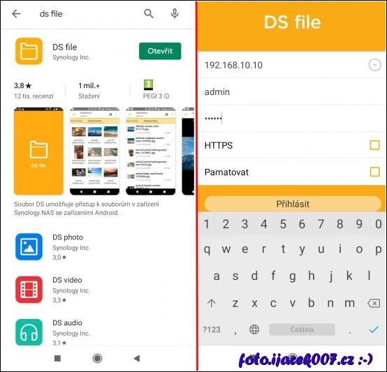 Obrazovky aplikace Android DS-File stažení a první instalace.