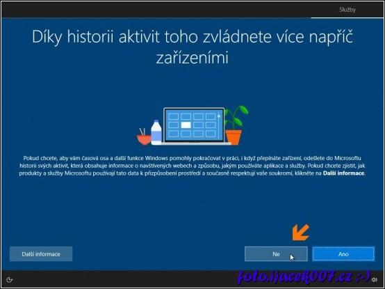 Pokud opravdu nechcete využívat Microsoft online učet musíte kliknout na ne.