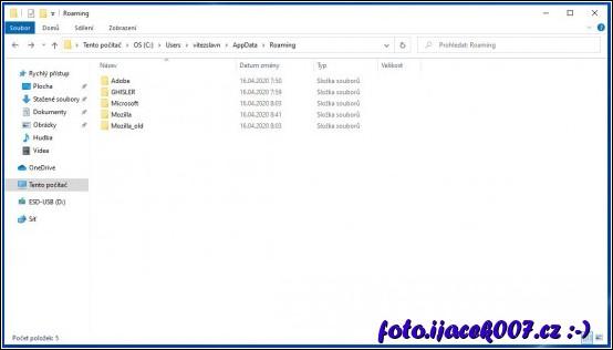 v profilu uživatele pohled na datový adresář prohlížeče firefox