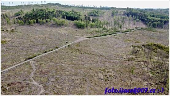 Pohled na místo kde ještě téměř nedávno byl les.