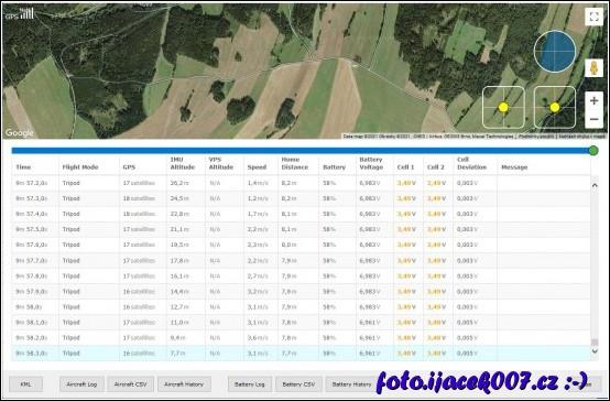 Poslední zaznam dronu 7 metru nad zemí.