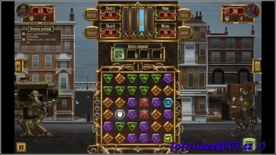 Pohled na herní plán a typy kamenů.