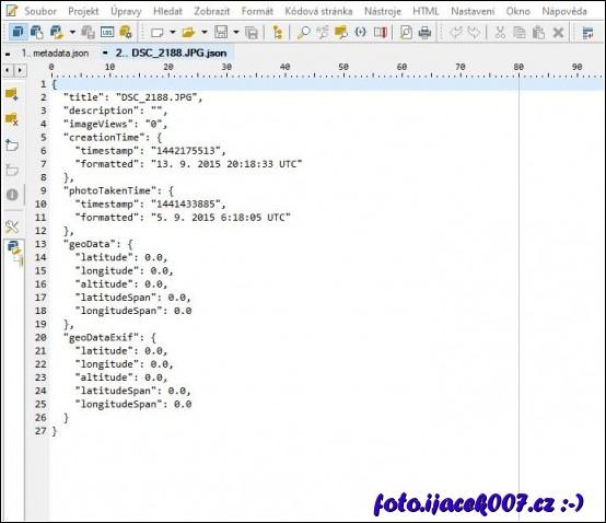 obsah souboru Json s dostupnými informacemi.