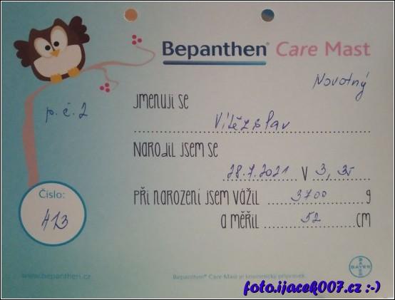 První písemnost informující o narození syna.
