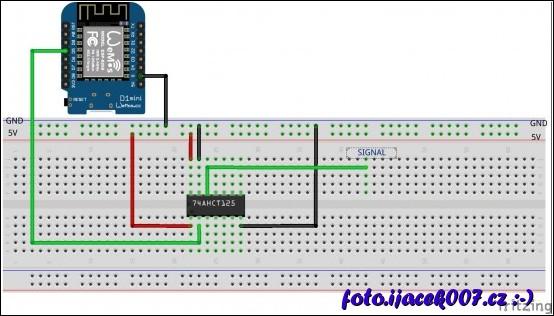 Zapojeni obvodu pro zrychleni komunikace ESP a led pasku při zapnutém web serveru.