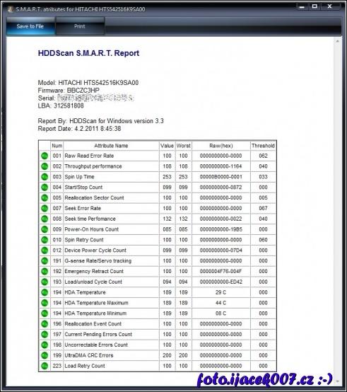obrázek hdd scan smart report