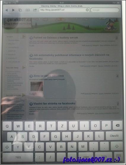 klávesnice pro psaní textu na apple ipad2